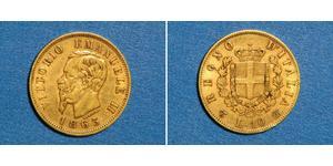 10 Лира Kingdom of Italy (1861-1946) Золото Victor Emmanuel II of Italy (1820 - 1878)
