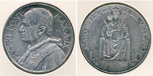 10 Лира Ватикан (1926-) Серебро Pope Pius XI (1857 - 1939)