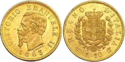 10 Ліра Kingdom of Italy (1861-1946) Золото Victor Emmanuel II of Italy (1820 - 1878)