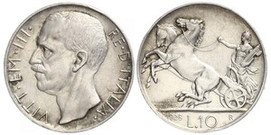 10 Ліра Kingdom of Italy (1861-1946) Срібло Віктор Емануїл III (1869 - 1947)