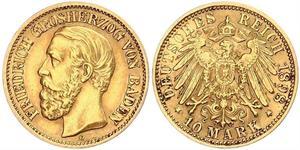 10 Марка Велике герцогство Баден (1806-1918) Золото Frederick I, Grand Duke of Baden (1826 - 1907)