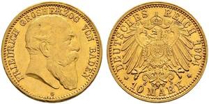 10 Марка Великое герцогство Баден (1806-1918) Золото Фридрих I (великий герцог Баденский) (1826 - 1907)