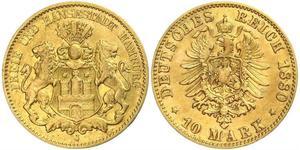 10 Марка Гамбург Золото