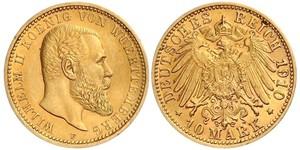 10 Марка Германская империя (1871-1918) Золото Wilhelm II, German Emperor (1859-1941)