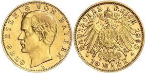 10 Марка Королевство Бавария (1806 - 1918) Золото Отто I (король Баварии)(1848 – 1916)