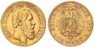 10 Марка Королевство Вюртемберг (1806-1918) Золото Карл I (король Вюртемберга)