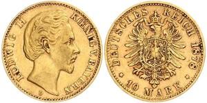 10 Марка Королівство Баварія (1806 - 1918) Золото Людвіг II (король Баварії)(1845 – 1886)