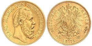 10 Марка Королівство Вюртемберг Золото Charles I of Württemberg