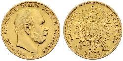 10 Марка Королівство Пруссія (1701-1918) Золото Wilhelm I, German Emperor (1797-1888)
