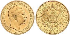 10 Марка Королівство Пруссія (1701-1918) Золото Wilhelm II, German Emperor (1859-1941)