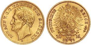 10 Марка Королівство Саксонія (1806 - 1918) Золото