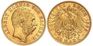 10 Марка Королівство Саксонія (1806 - 1918) Золото Albert of Saxony