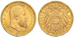 10 Марка Німецька імперія (1871-1918) Золото Wilhelm II, German Emperor (1859-1941)