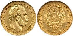 10 Марка Пруссия (королевство) (1701-1918) Золото Wilhelm I, German Emperor (1797-1888)