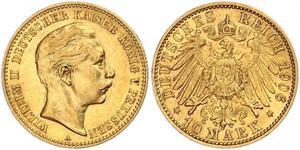 10 Марка Пруссия (королевство) (1701-1918) Золото Wilhelm II, German Emperor (1859-1941)