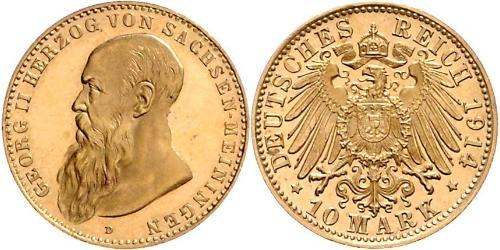 10 Марка Саксен-Мейнинген (1680 - 1918) Золото Георг II (герцог Саксен-Мейнингена)