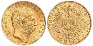 10 Марка Саксония (королевство) (1806 - 1918) Золото Альберт (король Саксонии)