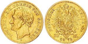 10 Марка Саксония (королевство) (1806 - 1918) Золото