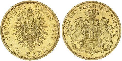 10 Марка Федеральные земли Германии Золото