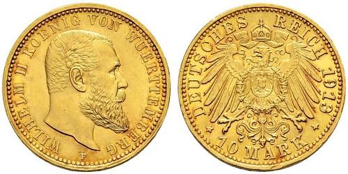 10 Марка Федеральные земли Германии Золото Wilhelm II, German Emperor (1859-1941)