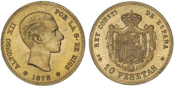 10 Песета Королівство Іспанія (1874 - 1931) Золото Alfonso XII of Spain (1857 -1885)