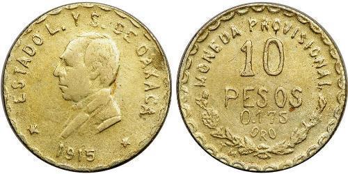10 Песо Мексиканські Сполучені Штати (1867 - ) Золото