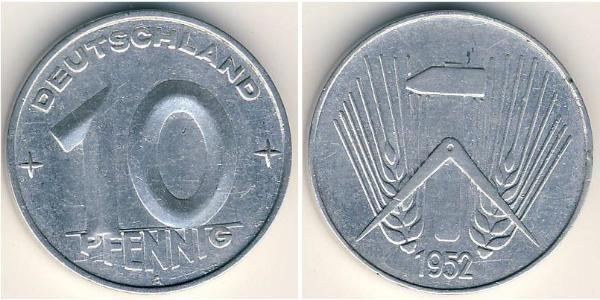 10 Пфенниг Германская Демократическая Республика (1949-1990) Алюминий