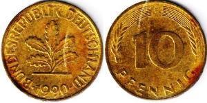 10 Пфенниг ФРГ (1949-1990) Латунь/Сталь