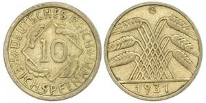 10 Пфенниг / 10 Рейхспфенниг Веймарская республика (1918-1933) Латунь