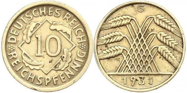 10 Рейхспфеніг / 10 Пфеніг Веймарська республіка (1918-1933) Латунь