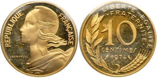 10 Сантім French Fifth Republic (1958 - ) Золото