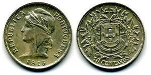 10 Сентаво Первая Португальская республика (1910 - 1926) Серебро