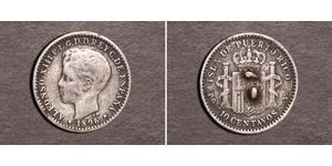 10 Сентаво Пуерто-Ріко Срібло Alfonso XIII of Spain (1886 - 1941)