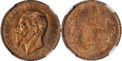10 Сентесімо Kingdom of Italy (1861-1946) Мідь Victor Emmanuel II of Italy (1820 - 1878)