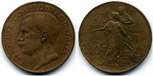 10 Сентесімо Kingdom of Italy (1861-1946) Мідь Віктор Емануїл III (1869 - 1947)