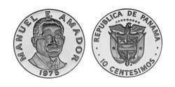 10 Сентесімо Панама Нікель/Мідь Manuel Amador Guerrero (1833 – 1909)