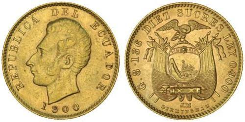 10 Сукре Еквадор Золото