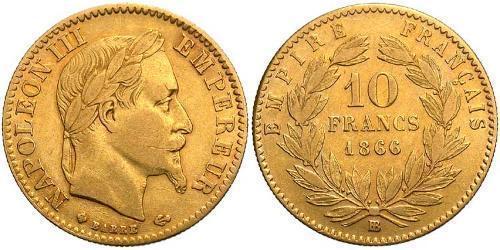 10 Франк Вторая французская империя (1852-1870) Золото Наполеон III Бонапарт (1808-1873)