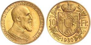 10 Франк Лихтенштейн Золото Franz Joseph II, Prince of Liechtenstein (1938 - 1989)