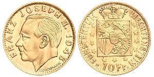 10 Франк Ліхтенштейн Золото Franz Joseph II, Prince of Liechtenstein (1938 - 1989)