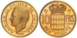 10 Франк Монако Золото Реньє III