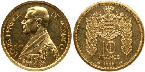 10 Франк Монако Золото Луи II князь Монако (1870-1949)