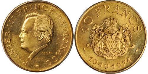 10 Франк Монако Золото