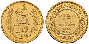 10 Франк Тунис Золото