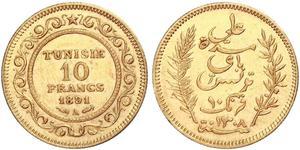10 Франк Туніс Золото