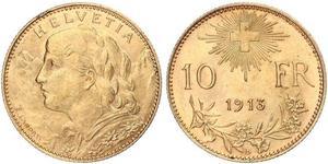 10 Франк Швейцария Золото