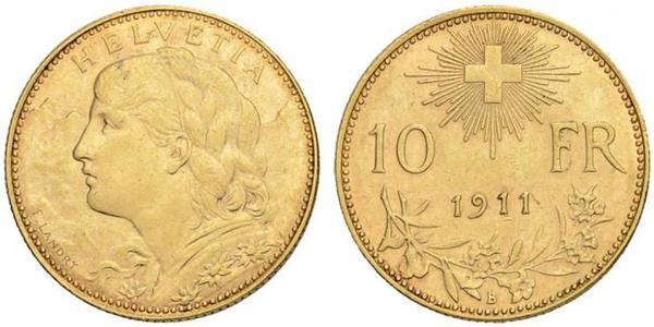 10 Франк Швейцарія Золото