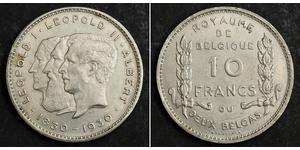 10 Франк Бельгія Нікель Альберт I (король Бельгії)(1875 - 1934) / Леопольд II (1835 - 1909) / Leopold I of Belgium (1790-1865)