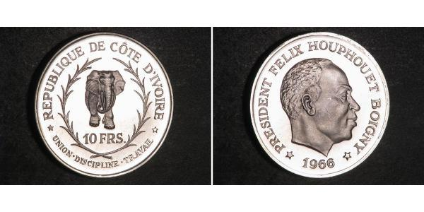 10 Франк Cote dIvoire Серебро