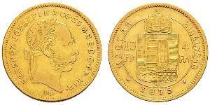 10 Франк / 4 Форинт Австро-Венгрия (1867-1918) Золото Франц Иосиф I (1830 - 1916)